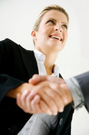Financial Staffing Resources candidate shaking hands with a potential employer during an interview